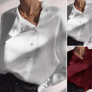 Mode-Femme-Chemise-Boutons-Loisir-Decontracte-lache-Manche-Longue-Haut-Tops-Plus