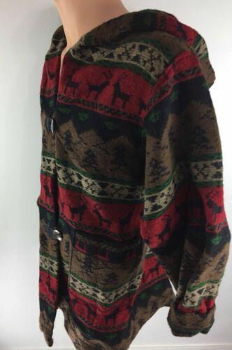 P.L. GREEN'S Multi Color Deer / Tree Print Hooded
