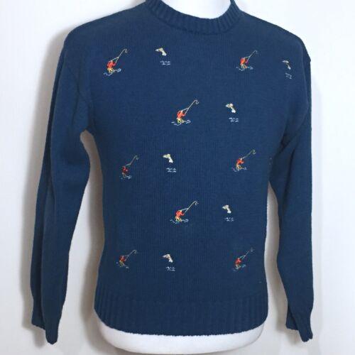 Vintage IZOD Men's Fishing Fisherman Sweater M Blue Sporty Hong Kong 🎣