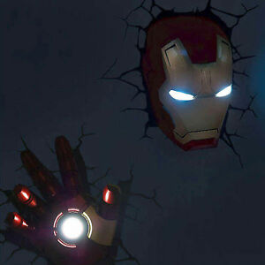 Hot Marvel Avengers Iron Man Mask Head Face Hand 3d Deco