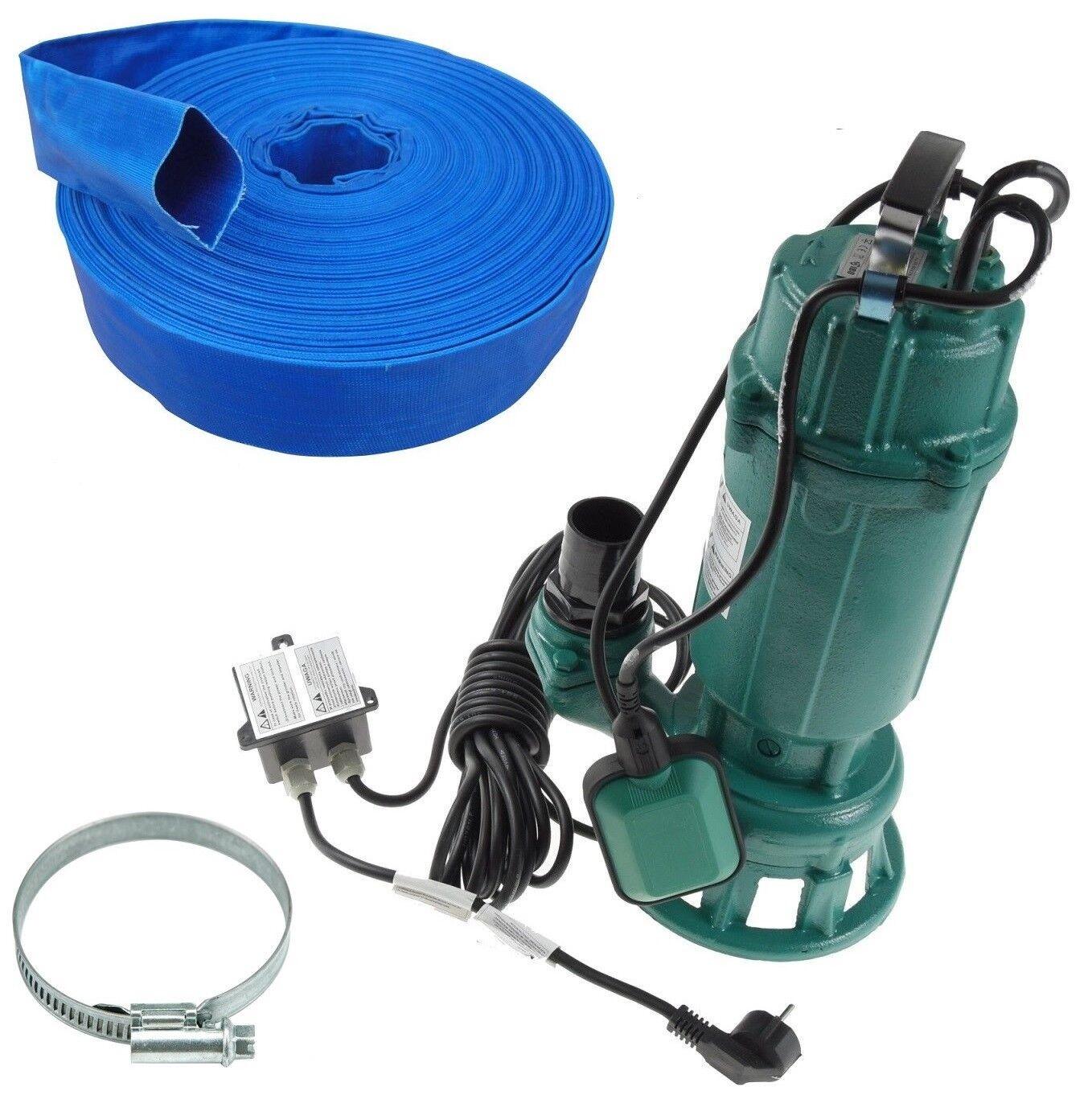 Schmutzwasserpumpe Fäkalienpumpe Schneidmesser Tauchpumpe mit Gummischlauch TOP