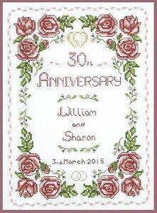 14 Anniversario Di Matrimonio.Pearl Anniversario Di Matrimonio Rose Campionatore Completo Punto
