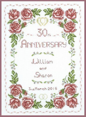 Pearl Wedding Anniversary Rose Sampler complete cross stitch kit on 14 aida