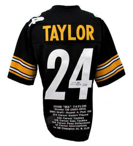Ike Taylor Signed Pittsburgh Steelers Career Highlight Stat Jersey ...