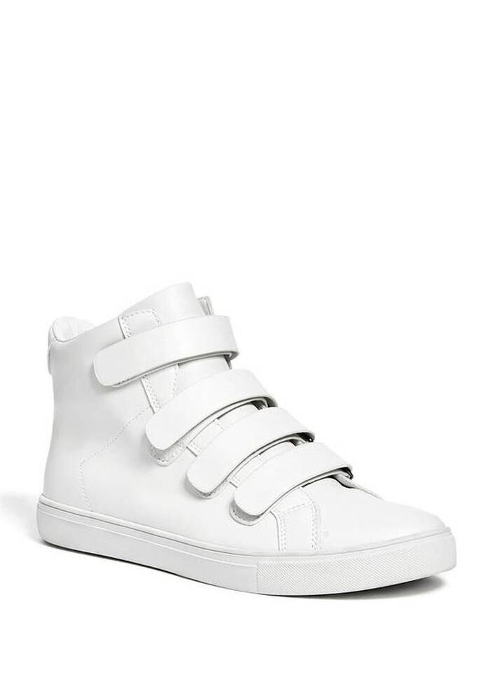 Guess Men's Tenor High Top Straps Sneakers White Faux Leather shoes Size 11