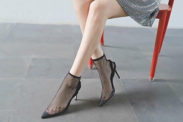 Women Fashion Pointed Toe Fishnet Pull On High Heel Ankle Sock Boots shoes skle&