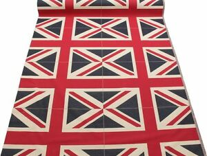 Image Is Loading Union Jack Flag Retro Heavy Linen Look Upholstery