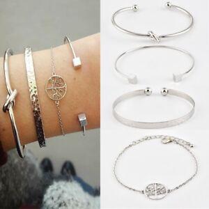 Women-4Pcs-Set-Silver-Knot-Simple-Adjustable-Open-Bangle-Bracelets-Jewelry