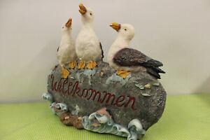 Drei-Moewen-Willkommen-Eingang-Dekofigur-Nordsee-Gartenfigur-Tierfigur-Maritim