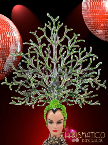 Silver Mirror Tile Accented Vibrant Glitter Green Coral Branch Headdress