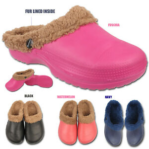 Womens-Ladies-Winter-Warm-Fur-Lined-Clogs-Casual-Garden-Kitchen-Work-Mules-Shoes