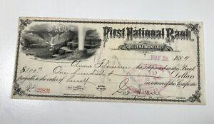 1889 First National Bank Helena Montana MT Check, Geyser Annie Flowerree Velie