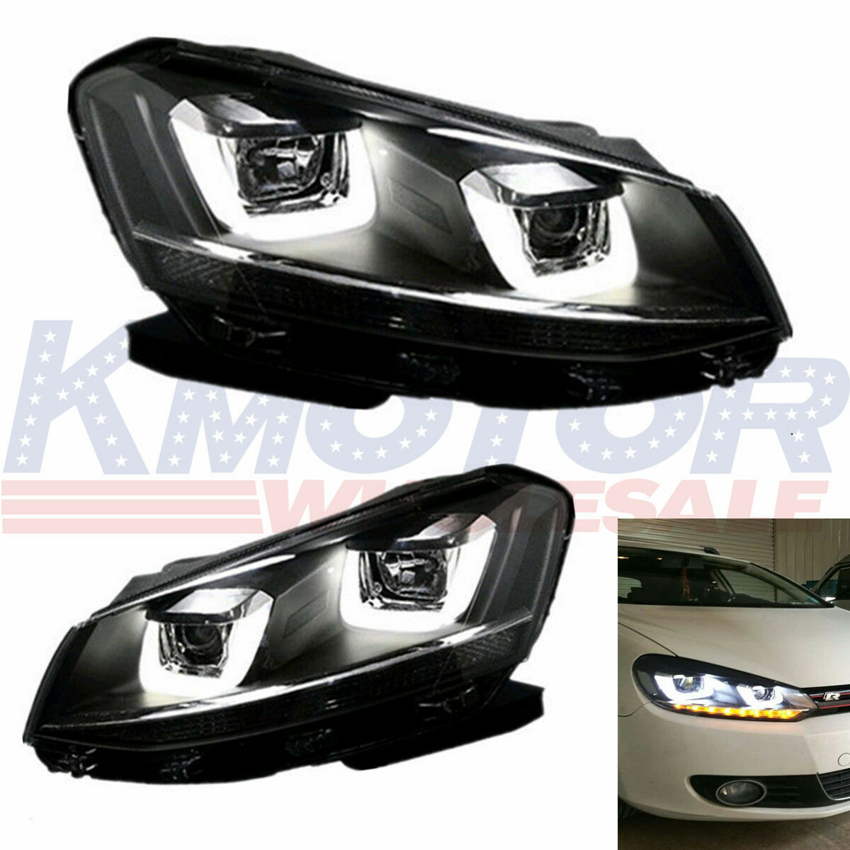 New Embly Drl Headlights Lamps Led For 2008 2017 Vw Volkswagen Golf Mk6 Gti