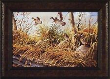 """A FAMILY AFFAIR"" by Ken Zylla 14.5x20 FRAMED ART Print QUAIL FIELD WILDLIFE"