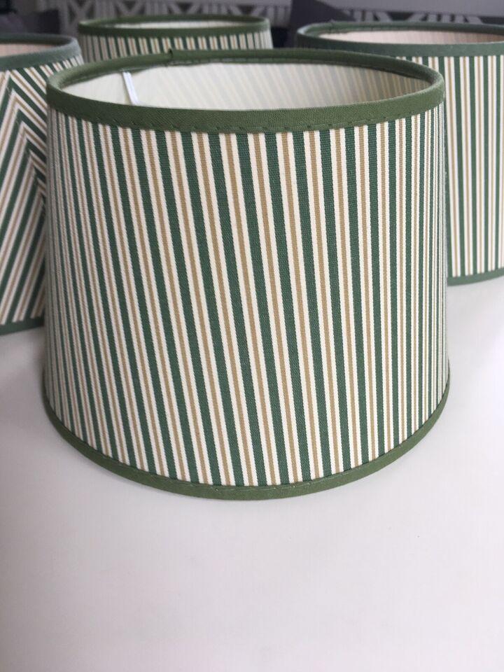 Lampeskærm, Stribet grøn/beige/lys brun