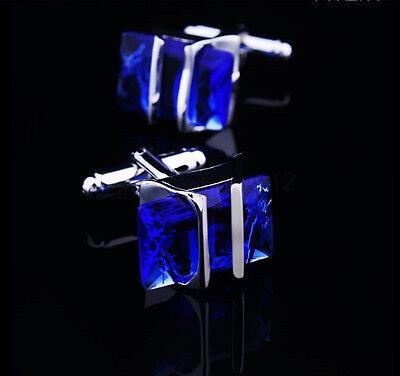 Blue Crystal Silver Mens Wedding Party gift shirt cufflinks cuff links