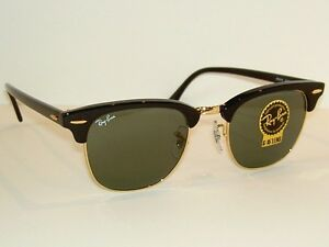cfe2eb77a2 New RAY BAN Sunglasses Black CLUBMASTER RB 3016 W0365 G-15 Glass ...