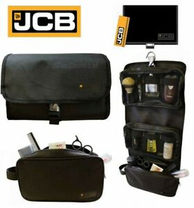 Mens-JCB-Delux-Hanging-Shave-Shaving-Toilet-Travel-Bag-Wash-Kit-Roll-Gift-Black