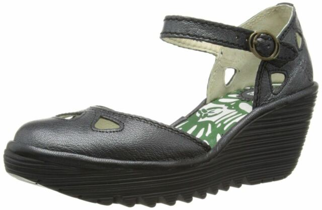 Fly London Yuna Black Womens Leather Wedge Sandals Shoes
