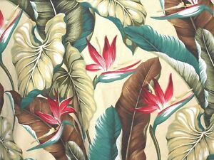 1 2 Yard 18x55 Tropical Hawaiian Barkcloth Upholstery Fabric Bird
