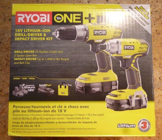 Ryobi 18V One + System Lithium-Ion Drill/Driver & Impact Driver Kit (P1832)