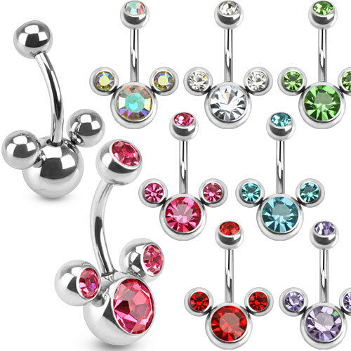 Surgical Steel Triple Bubble Belly Bar / Navel Ring with CZ Gems