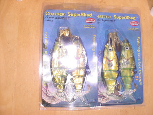 """6/"""" 3//4 OZ TWO Z MAN CHATTER SUPER SHAD-IRIDESCENT GOLD//GREEN WITH SPOT"""