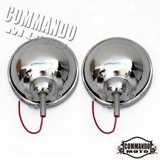 "1 Pair Chrome Motorcycle 4.5"" Headlight Housing Head Lamp Light Bulb Cover Shell"