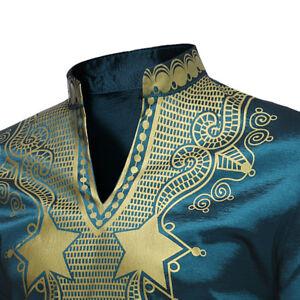 Men-Blouse-Long-Sleeve-Shirt-National-African-Dashiki-Tribal-Casual-Top-T-shirt