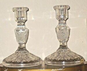 Vintage-2pc-Etched-Crystal-Glass-Flower-Elegant-6-25-034-Candlestick-Candle-Holder