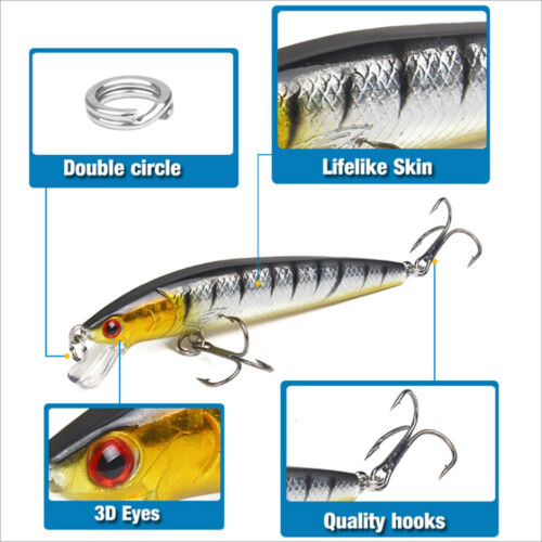 Minnow Fishing Lure 3D Eyes 10cm 7g Wobbler Bass Pike Baits Spinner Baits PDHDE