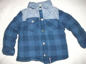 bfb7ef533a35 Boys Navy Chunky Checked Padded Jacket Age 12-18 months