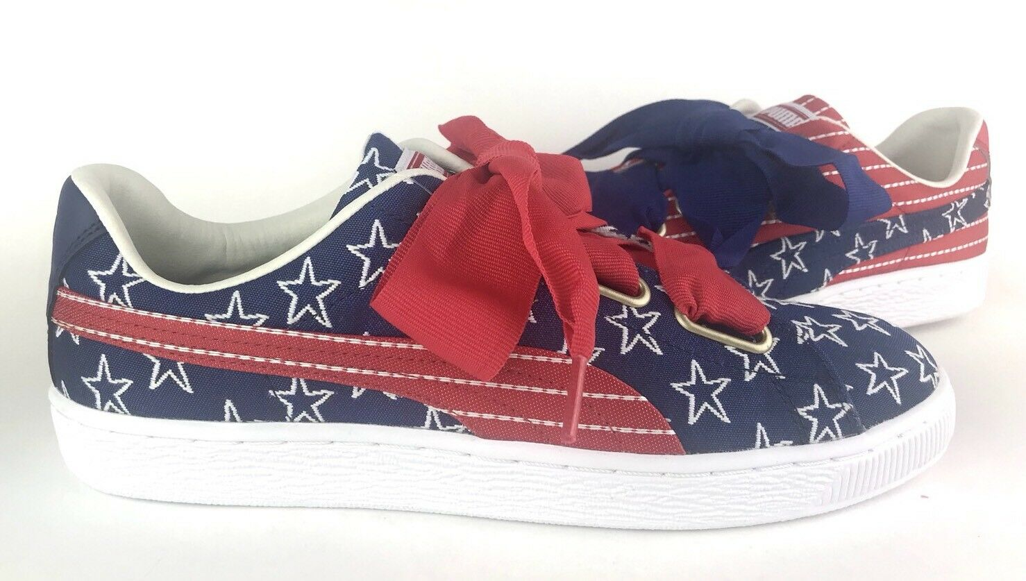 2e1c6a446 PUMA Women s Basket Heart Heart Heart 4th Of July Stars Stripes Red White  Blue Size 10