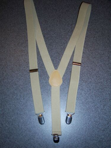Tan Navy or Gold Lame/' Clip on ends Suspenders- Mens Elastic