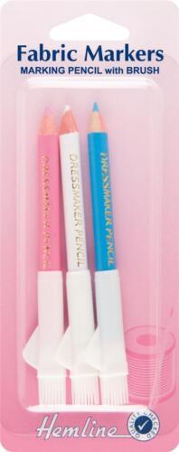 Hemline Multi Coloured Dressmaker Pencils With Brush Fabric Marker Haberdashery