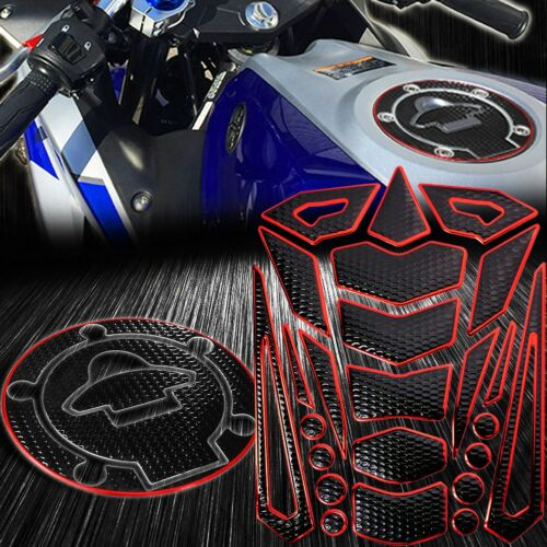 24PC Perforated Black Tank Pad+Gas//Fuel Cap Cover 14-19 Yamaha YZF R3 Chrome Red