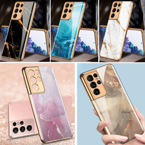 For Samsung Galaxy S21 S21Ultra S21+ Case Marble Shockproof Tempered Glass Cover
