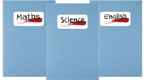 School exercise book ring binder subject sticker label Maths English Science