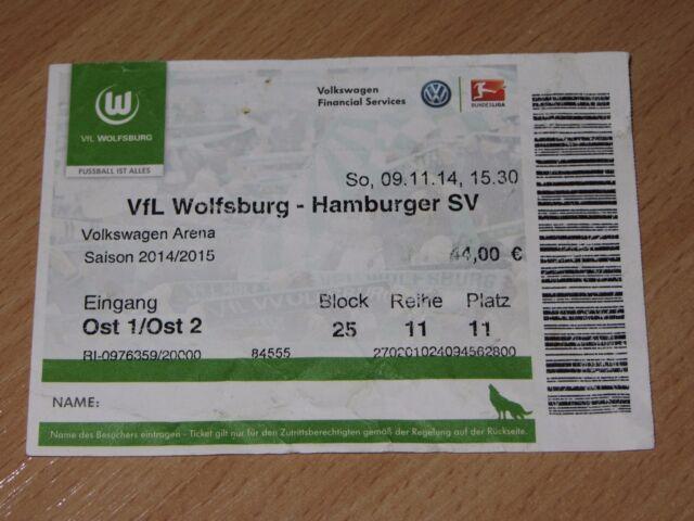Ticket Wolfsburg - Hamburg Hamburger 09.11.2014