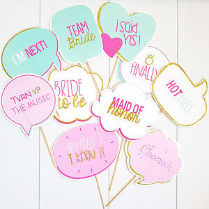 Details About 10 Bubble Speech Photo Booth Props Wedding Bridal Bride Shower Hens Night Diy