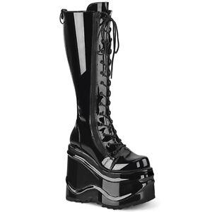 "Demonia WAVE-200 Black Patent 6"" Wedge Platform Lace-Up Knee High Boot"