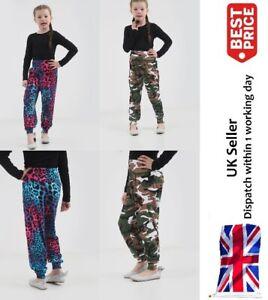 Girls-Printed-Harem-Trousers-Pants-Kids-Leggings-Childrens-Army-amp-Multi-Leopard
