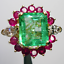 5Ct-Green-Emerald-Diamond-amp-Ruby-Cluster-Cocktail-Ring-in-14K-Yellow-Gold-Over thumbnail 3