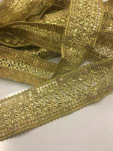 BEAUTIFUL-GOLD-4CM-WIDE-Ribbon-Vintage-EMBROIDERED-per-meter