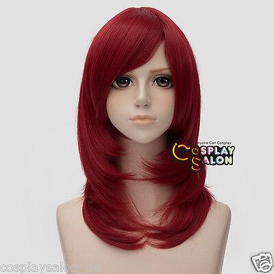 Anime Cosplay Wig Weinrot 45cm Haar Perücke Gelatt Halloween Mittellang Mode