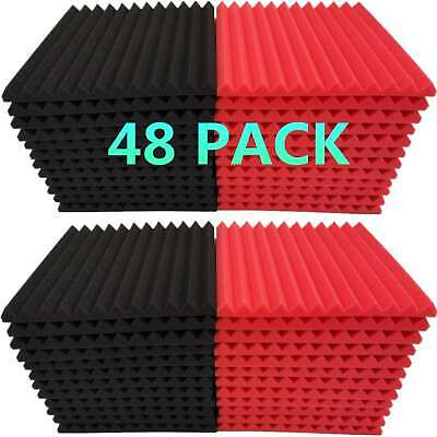 2x12x12 Red Black Acoustic Wedge Soundproofing Studio Foam Tiles 12 Pack