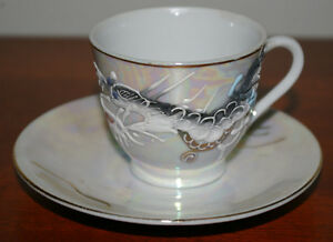 Details about IREDESCENT DRAGONWARE MORIAGE DEMITASSE SET CUP W GEISHA  LITHOPHANE AND SAUCER