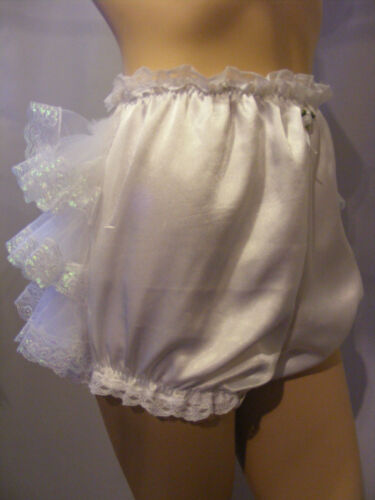 ADULT BABY SISSY WHITE SATIN FRILLY BUM DIAPER COVER PANTIES FANCYDRESS COSPLAY