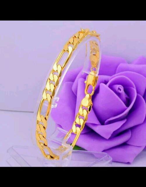 UK lady men14K GOLD FILLED  BANGLE bracelet anklet wedding husband gift father