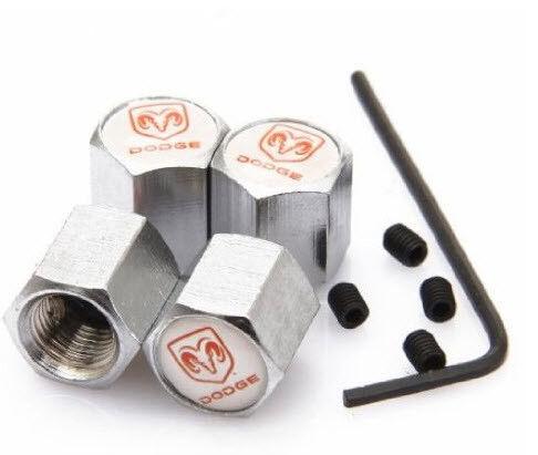 Dodge Tapones de valvulas cromados con tornillos bouchons valve tire valve caps